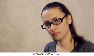 Woman in Glasses Posing for Camera - beautiful girl in...
