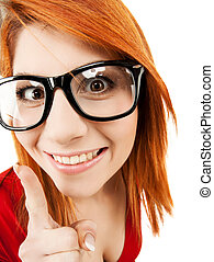 woman in glasses with finger up