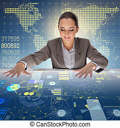 Woman in global computing concept