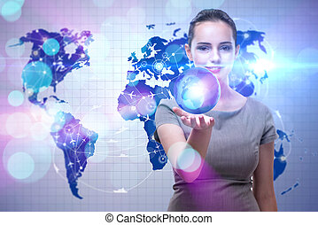 Woman in global travel concept