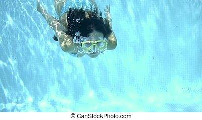 Woman in goggles swimming underwater - Single woman wearing ...