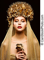 Woman in Gold Flower Crown, Fashion Model Beauty Makeup, Bride in Golden Veil holding Rose