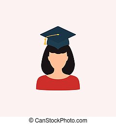 woman in graduation cap flat vector   education flat  icon