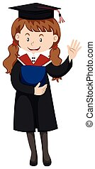 Woman in graduation gown