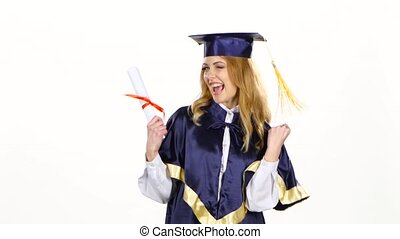 Woman in graduation gown holding diploma. White