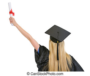 Woman in graduation gown with diploma rejoicing success . rear view