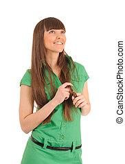 woman in green dress.