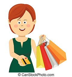 Woman in green summer dress giving credit card posing with shopping bags