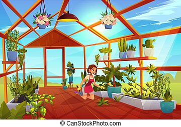 Woman in greenhouse care of garden plants orangery - Woman ...
