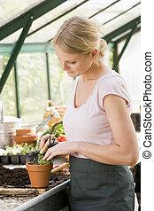 Woman in greenhouse raking soil in pot smiling