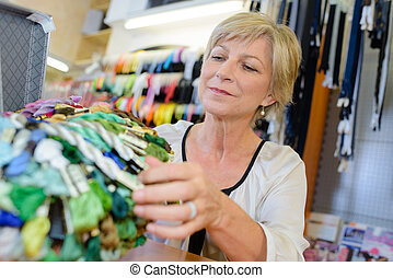 woman in haberdashery store