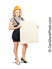 woman in hardhat holding banner