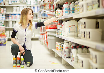 woman in hardware store
