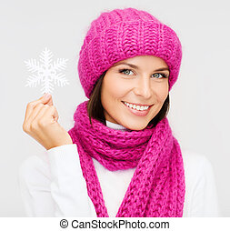 woman in hat and muffler with big snowflake - winter,...