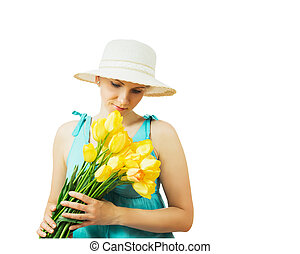 Woman in hat with flowers with his head down isolated on white background.