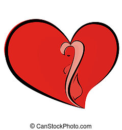 Woman in heart - A vector image heart in which is closed...