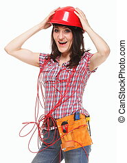 Woman in helmet with entangled red cable