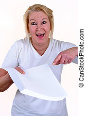 woman in her 50's with some white paper