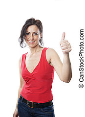 woman in her forties giving thumbs up
