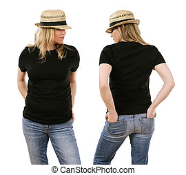 Woman in her forties wearing blank black shirt