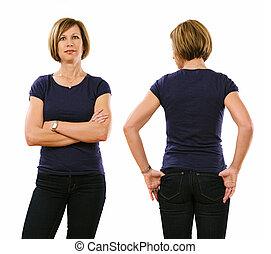 Woman in her forties wearing blank purple shirt