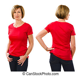 Woman in her forties wearing blank red shirt - Photo of a...