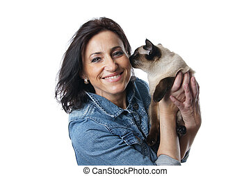 woman in her forties with siamese cat