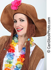 Woman in Hippy Fancy Dress Costume