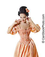 Woman in Historic Baroque Costume Corset, Girl in Rococo Retro