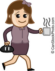 Woman in Hurry with Coffee Cup - Drawing Art of Cartoon...