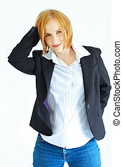 woman in jacket and jeans