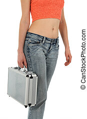 Woman in jeans with metal case