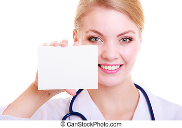Woman in lab coat. Doctor or nurse with blank card isolated...