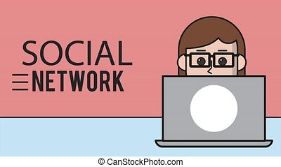 Woman in laptop looking social networks HD animation