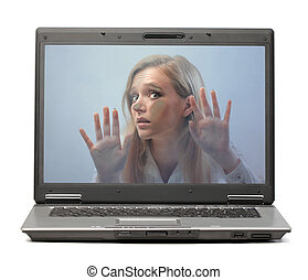 Woman in laptop - Woman stuck in laptop