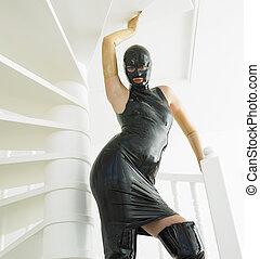 woman in latex