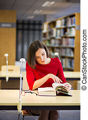 Young woman in library found something very interesting