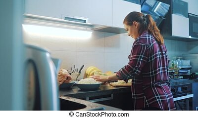 woman in lifestyle the kitchen preparing a meal concept....