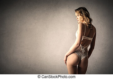 Woman in ligerie from behind