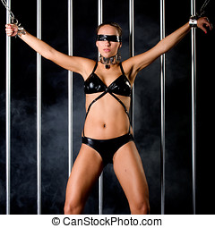 woman in lingerie in bondage style - beautiful woman in...