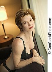Woman in lingerie.