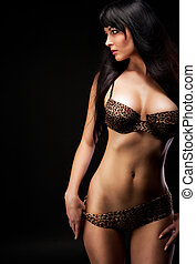 woman in lingerie - woman in leopard lingerie over dark