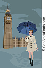 Woman in London - Illustration of Big Ben tower and a woman ...