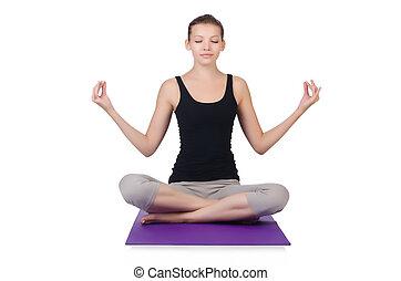 woman in variation of matsyasana pose lotus legs white
