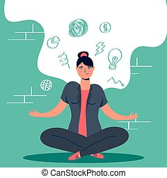 woman in lotus position with stress character