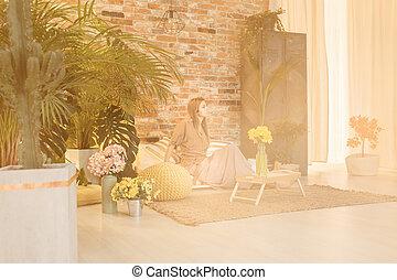 Woman in lounge