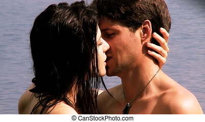Woman in love kissing husband