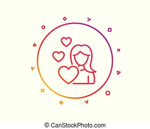 Woman in Love line icon. Heart sign. Vector