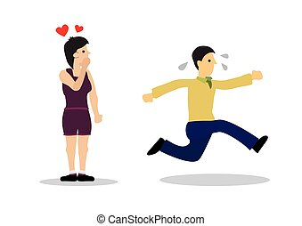 Woman in love with a man running away. Concept of force marriage, wedding stress, separation or harassment.