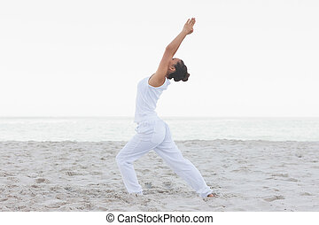 Woman in low lunge yoga pose